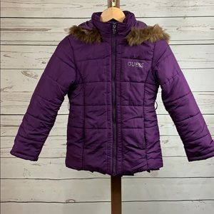 Guess Jeans Puffer Coat with Hood and Faux Fur